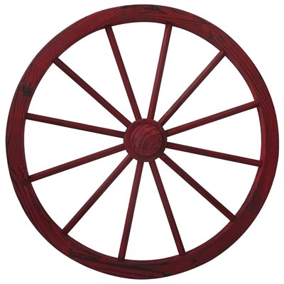 "30"" Solid Wood Wagon Wheel Decor - Red"