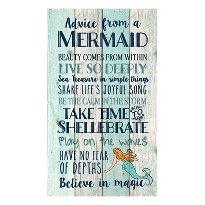 """Advice From A Mermaid"" Pine Pallet Wall Decor"