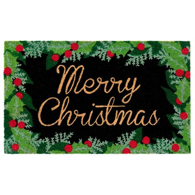 Merry Christmas Holly Doormat