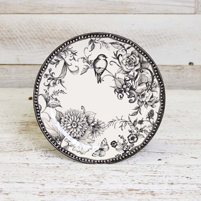Stoneware Bird and Butterfly Salad Plate