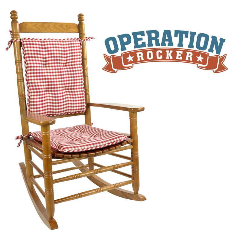 Red Gingham Rocking Chair Cushion Set 1