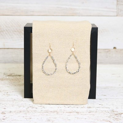 Grey Pear Drop Earing