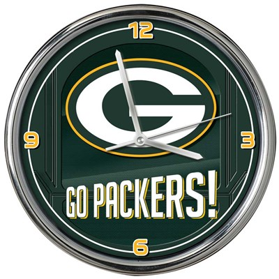 Green Bay Packers Chrome Wall Clock