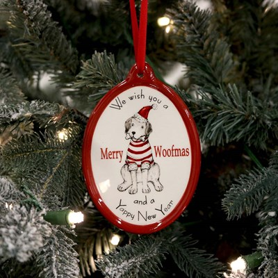 Ceramic Merry Woofmas Ornament