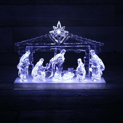 Light Up Acrylic Nativity Decor