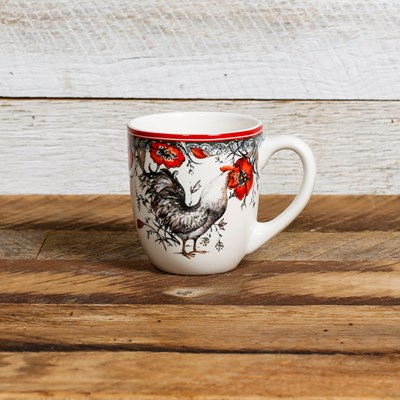 White Rooster Mug - Right Facing