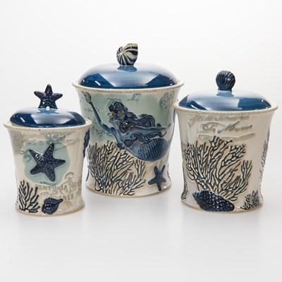 Stoneware Canisters - Set of 3