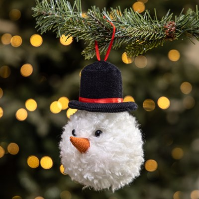 Plush Snowman Head Ornament