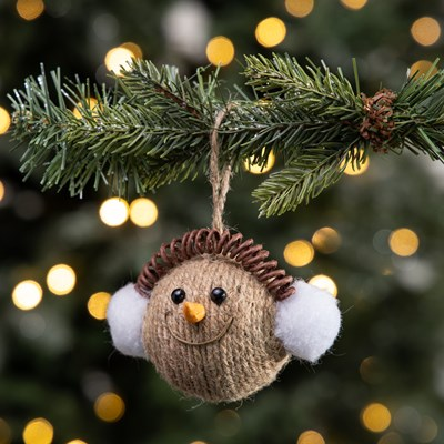 Jute Snowman with Ear Muffs Ornament
