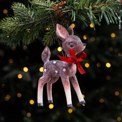 Standing Deer with Bow Ornament