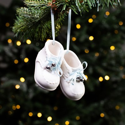 Ceramic Baby Shoes Ornament - Blue