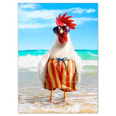 Rooster Wears Swimsuit Greeting Card