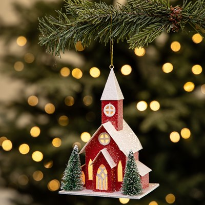 Light-Up Paper Church Ornament