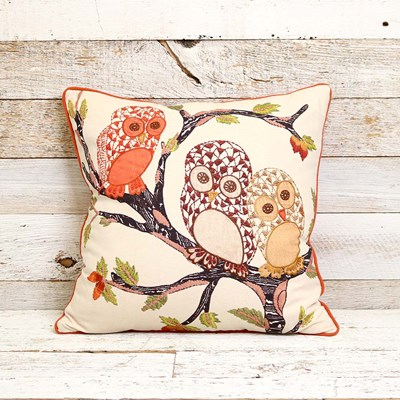 Embroidered Owl Decorative Pillow