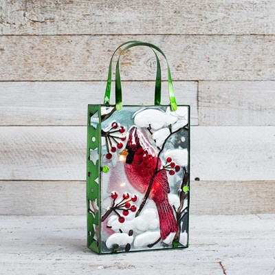 Light-Up Cardinal Shopping Bag Decor