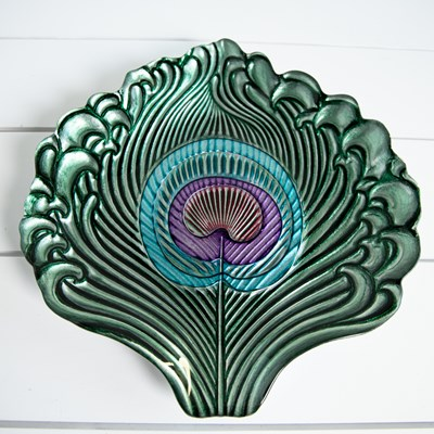 Peacock Feather Glass Platter
