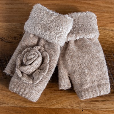 Taupe Flower Glove