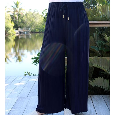 Pleated Navy Pull-On Pant