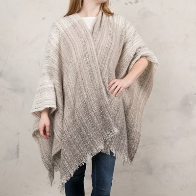 Neutral Stripe Boucle Shawl