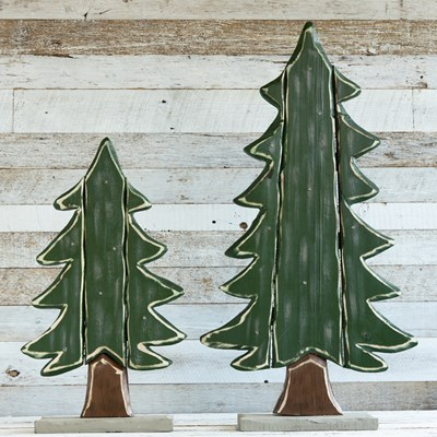 LED Light-up Set of Chunky Wood Trees