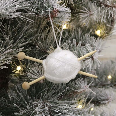 White Yarn Ball with Knit Needles Ornament
