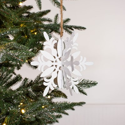 3D Glittered Snowflake Ornament - Curved