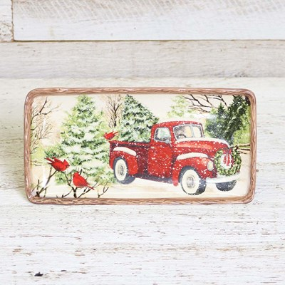 Stoneware Winter Scene Small Rectangular Platter