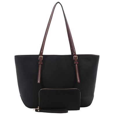 Black Top-Zip Tote with Matching Wallet