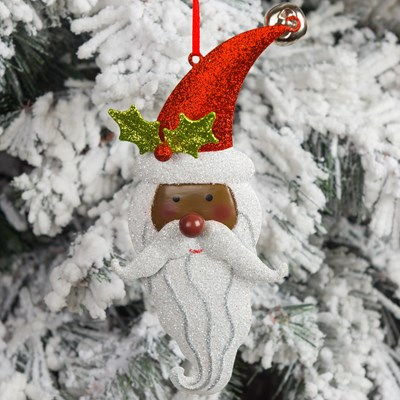 african american glittered metal santa head with bell ornament