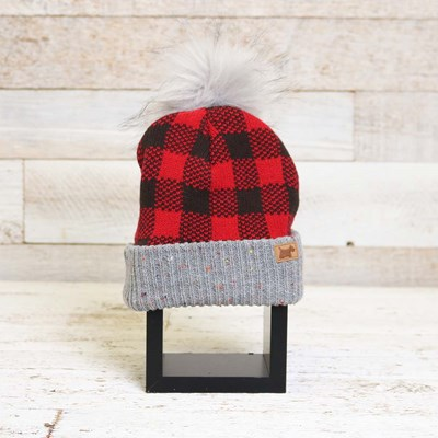 Infant Buffalo Check Cuff Hat with Pom