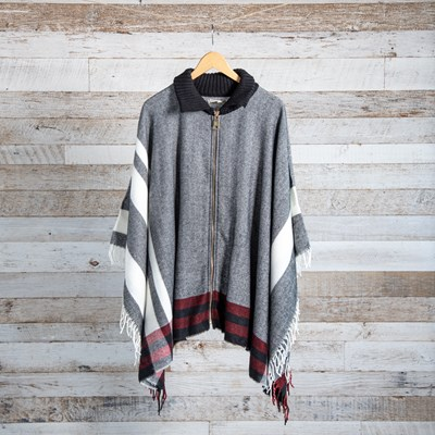 Plaid Sweater Collar Zip Front Shawl