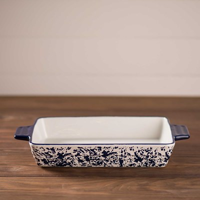 "Blue Splatterware Baker - 9""x13"""