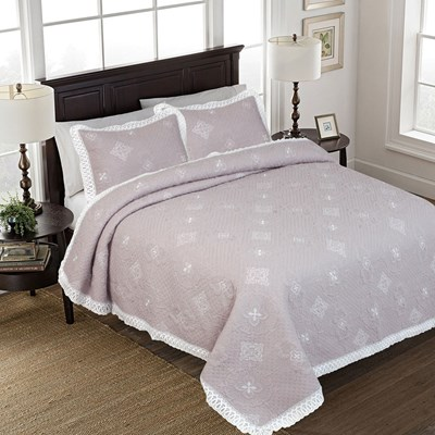 Tabitha Embroidered with Lace Quilt - Queen