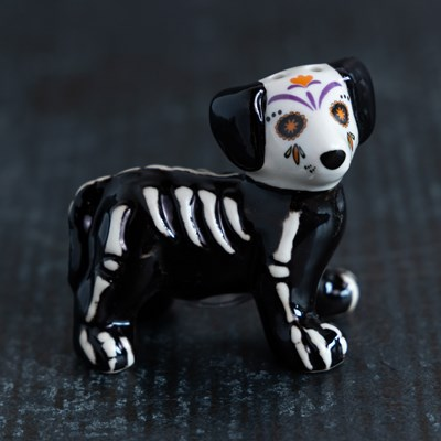 Mini Sugar Skull Dog Salt Shaker