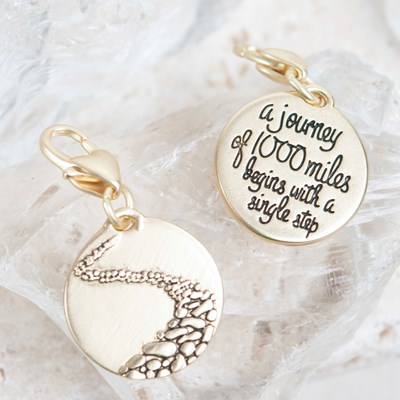 """A Journey of 100 Miles"" Path Charm"
