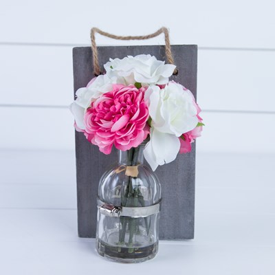 Faux Cabbage Rose in Wall Vase