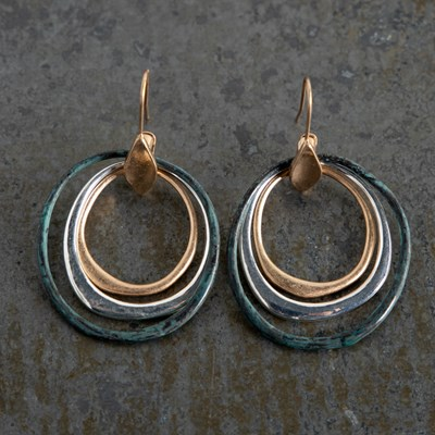 Patina 3-Ring Drop Earrings