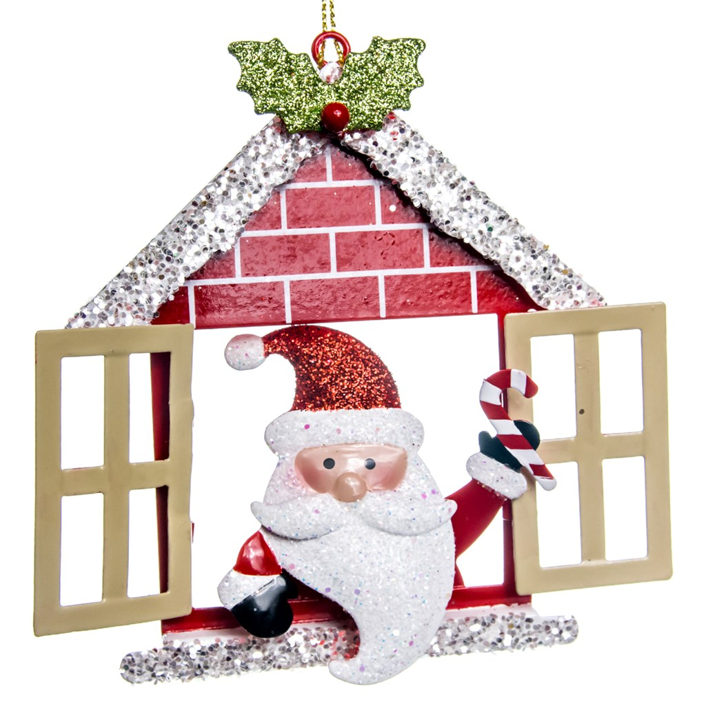 metal house with santa ornamentmetal house with santa ornament