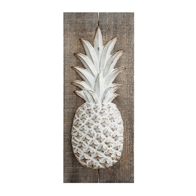 Wood with Embossed Metal Pineapple Wall Decor