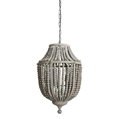 Wood Bead and Metal Chandelier - Gray