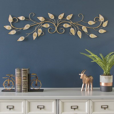 Brushed Gold Over the Door Scroll Wall Decor