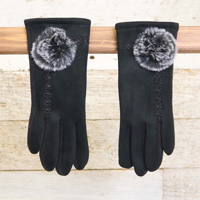 Black Faux Fur Glove