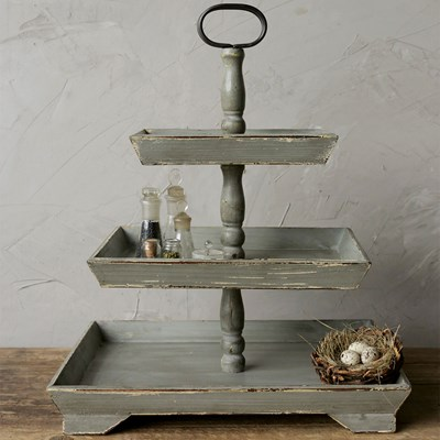 Decorative Wood 3-Tier Tray - Gray