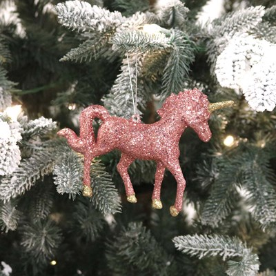 Pink Glitter Unicorn Ornament