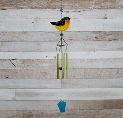 Flat Glass Bird Wind Chime