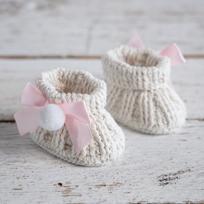 Newborn Crochet Puff Booties