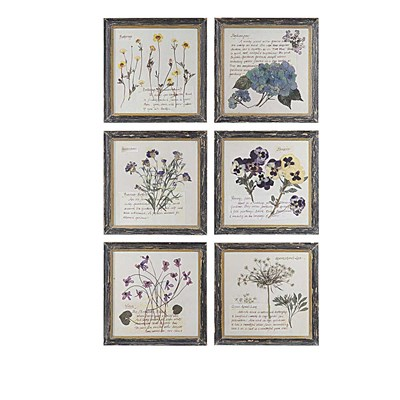 Wood Framed Flower Print Wall Decor - Set of 4