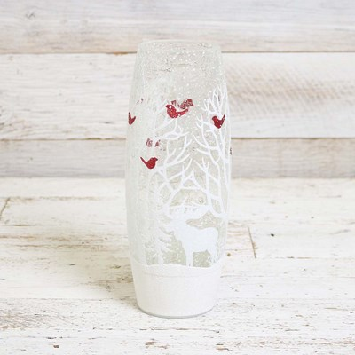 White Woods with Cardinals Lighted Vase