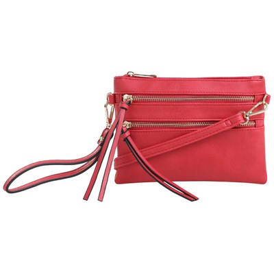 Red Multi-Zip Convertible Crossbody