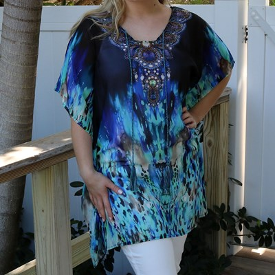 Watercolor Print Beaded Poncho